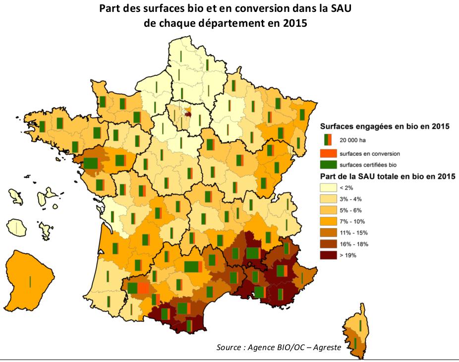 Part des surfaces bio et en conversion dans la SAU de chaque département en 2015